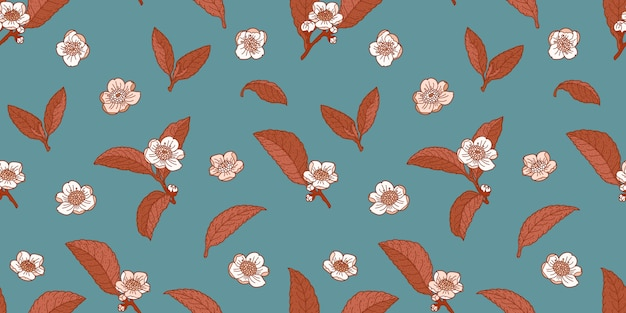 Tea flowers and leaves dark mint and brown seamless pattern