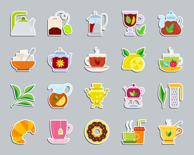 Tea green leaves, teatime ceremony attributes icon set patch sticker.