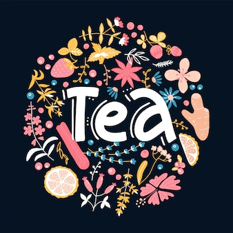 Tea. hand drawn floral pattern linear calligraphy lettering quote  illustration.