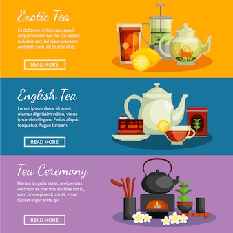 Tea horizontal banners set with english and exotic tea symbols flat isolated vector illustration