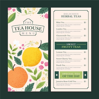 Tea house menu template