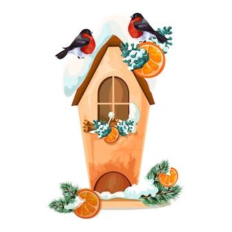 クリスマスの鳥と雪のティーハウス。クリスマスの装飾