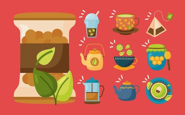 お茶のアイコンコレクションデザイン、タイムドリンク朝食と飲み物のテーマイラスト