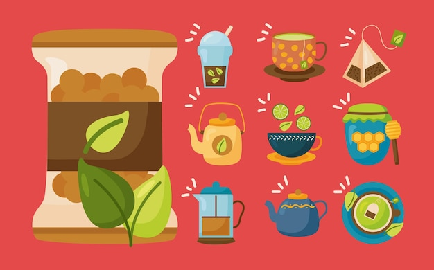 Tea icon collection design, time drink breakfast and beverage theme  illustration