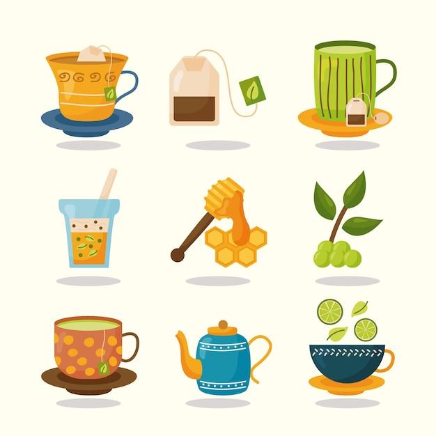 お茶のアイコンセットデザイン、タイムドリンク朝食と飲み物のテーマイラスト