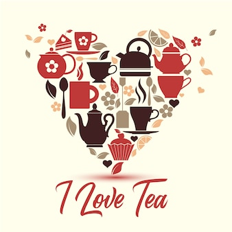 Tea icons in heart symbol.