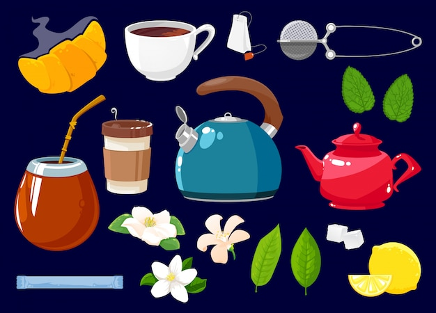 Tea icons isolated set cartoon objects