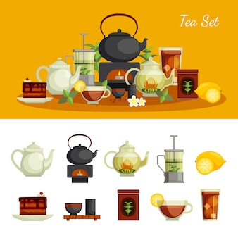 Tea icons set with lemon sugar