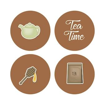Набор чайных иконок Premium векторы