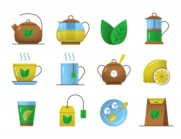 Tea icons with retro texture