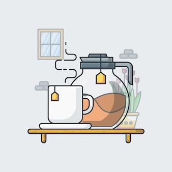 Tea illustration. flat cartoon style