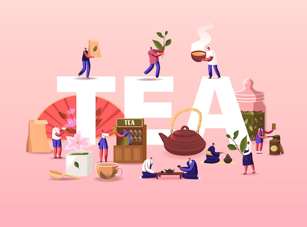Tea illustration. people growing, care, collecting produce sell and drink tea.