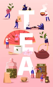 Tea illustration. people growing, care, collecting produce sell and drink tea