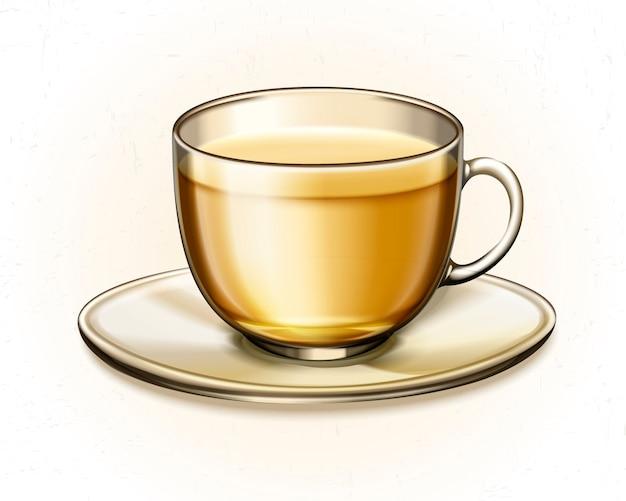흰색 바탕에 유리 컵에 차