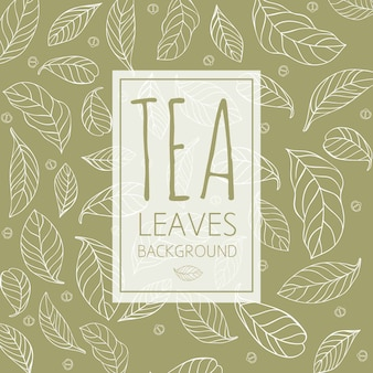 Tea leaves background in hand drawn style