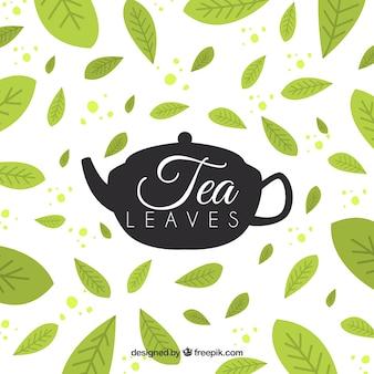 Foglie di tè sfondo con design piatto