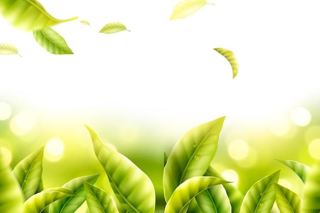 Tea leaves garden with glittering bokeh background in 3d