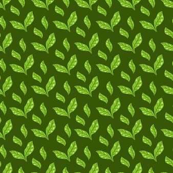Tea leaves pattern. seamless floral and herbal pattern on dark green background. hand drawn leaf background. vector illustration. vector bright print for fabric or packaging.