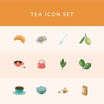 Tea line and fill style 12 icon set design, time drink breakfast and beverage theme.