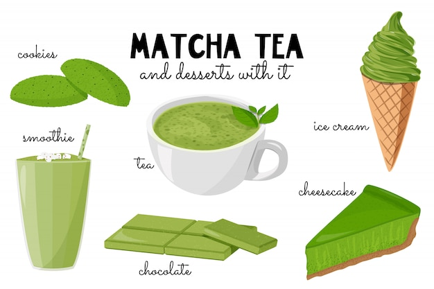 Tea matcha and desserts with it.