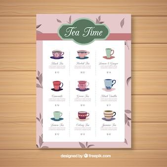 Tea menu template to beverages list