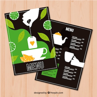 Tea menu template to beverages list