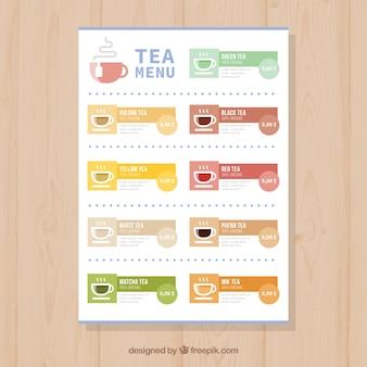 Tea menu template in flat style