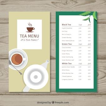 Modello di menu del tè in stile piatto