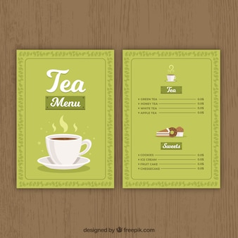 Tea menu template in flat style