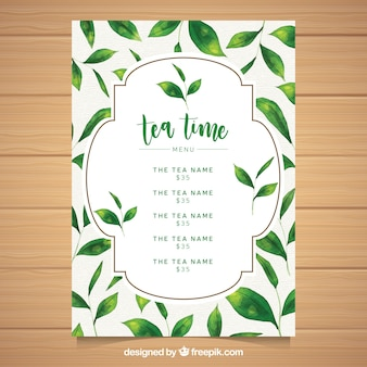 Tea menu template in realistic style