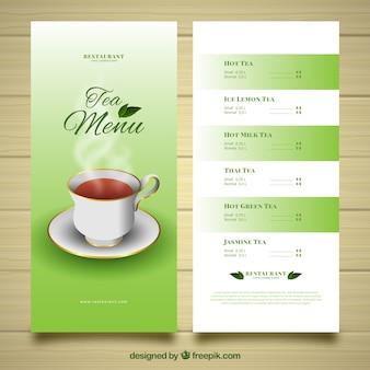 Шаблон меню чая в реалистичном стиле
