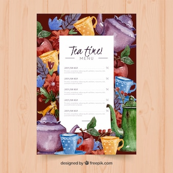 Tea menu template to tearoom