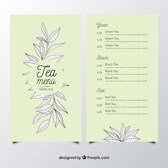 Tea menu template to tearoom