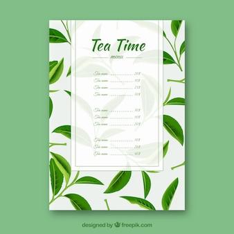 Шаблон меню чая для чайной комнаты Бесплатные векторы