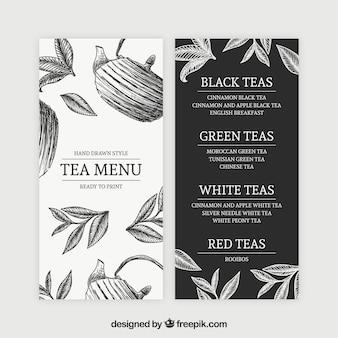 Шаблон меню чая для чайной комнаты