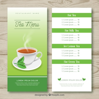 Tea menu template with beverage list