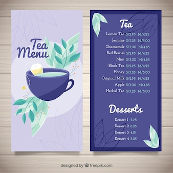Tea menu template with beverages list