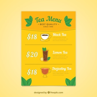 Tea menu template with beverages list