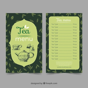 Tea menu template with different drinks