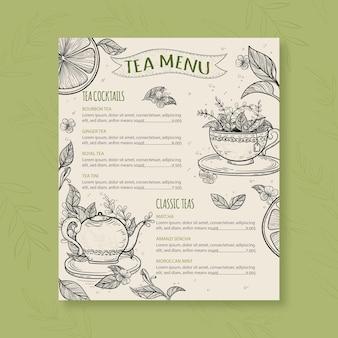Шаблон меню чая с разными вкусами