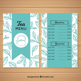Tea menu template with different flavors