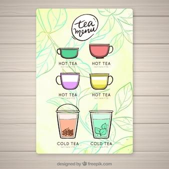 Шаблон меню чая с различными ароматами