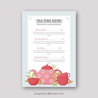 Modello di menu del tè con diversi tipi di bevande