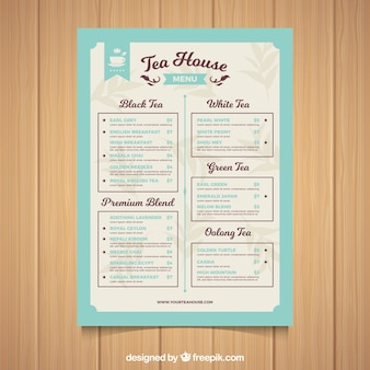 Tea menu template with different types of drink
