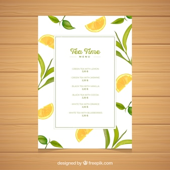 Tea menu template with drinks list