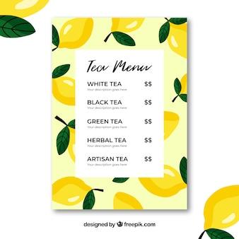 Tea menu template with drinks