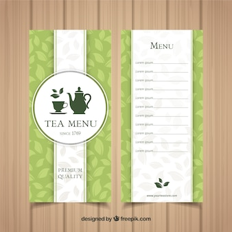 Шаблон меню чая с напитками
