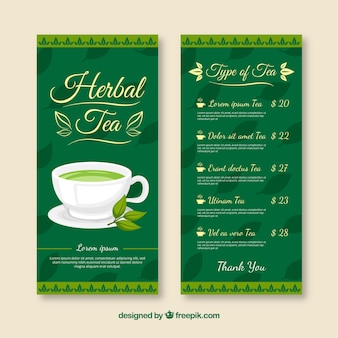 Tea menu template with flat design