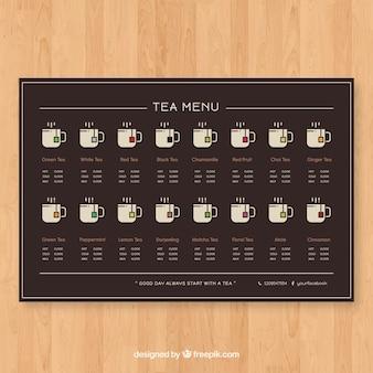 Tea menu template with flat design