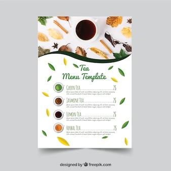 Tea menu template with photo